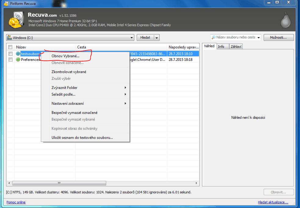 Obnovení souboru programem Recuva