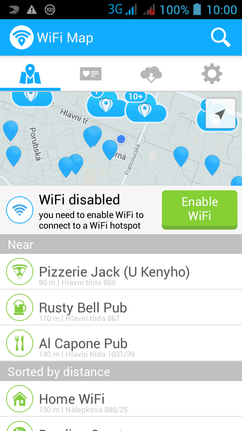 Wifi první obrazovka