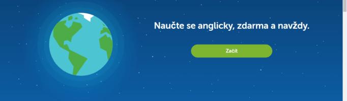 Naučte se anglicky, zdarma a navždy. Úvodní obrázek webu Duolingo