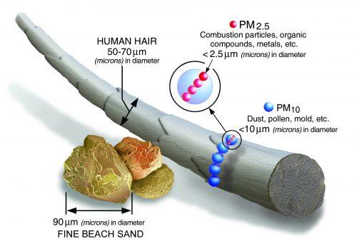 Ukázka velikosti částice PM2.5